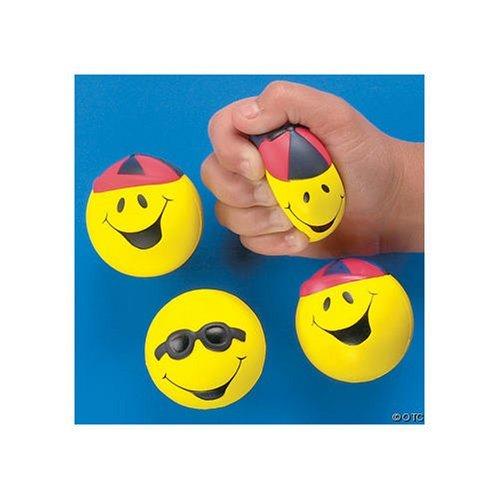 Goofy Smile Face Relaxable Balls (1 DOZEN) - BULK (Stress Ball Vibrant)