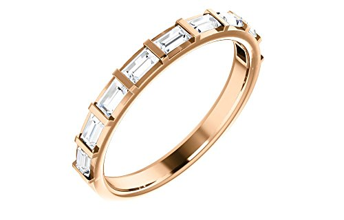 (Jewels By Lux 14K Rose Gold 1/2 CTW Diamond Straight Baguette Anniversary Wedding Ring Band)