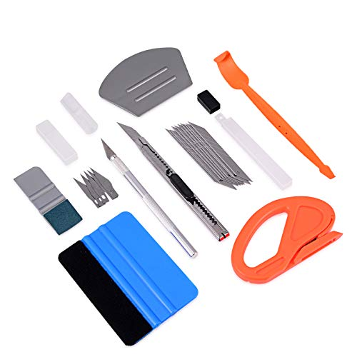 FOSHIO Car Vinyl Wrap Window Tint Tools Kit Include Small Contoured Felt Card Squeegees, Micro Magnetic Stick Squeegee, Vinyl Cutter, 9mm Lockable Utility Knife & Art Craft Knife for Film - Wrapping Kit