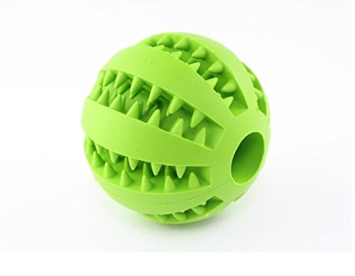 LHWJC Dog Toy Ball Free-Strong Tooth Cleaning for Pet Training Playing Chewing Non-Toxic Soft Rubber Tooth Cleaning Toys, 2.8  Green(Mint Flavor)