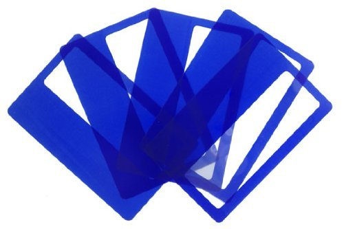 Credit Card Magnifiers 3x Magnification Semi-rigid Blue 0.5mm Thin (Qty=10)