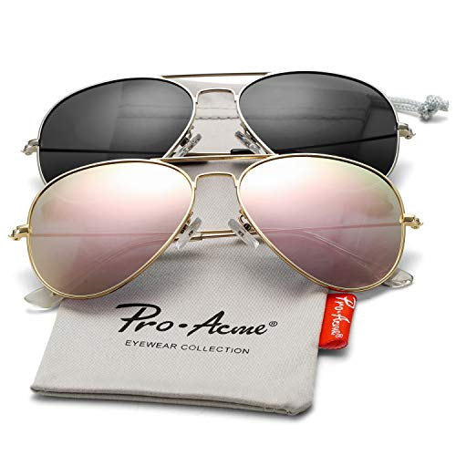 Pro Acme Classic Polarized Aviator Sunglasses for Men and Women UV400 Protection (2 Pairs) Gold Frame/Pink Mirrored Lens + Silver Frame/Smoke Lens