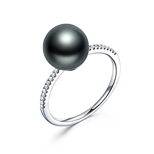 (11mm Tahitian Cultured Black Pearl Solid 14k White Gold Half Eternity Diamond Solitaire Engagement Ring)