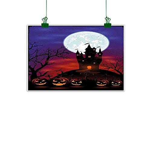Halloween Wall Painting Gothic Haunted House Castle Hill Valley Night Sky October Festival Theme Print Canvas Painting Decor Gifts W 32