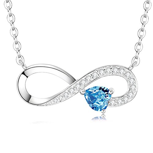 (March Birthstone Blue Aquamarine Necklace Gifts for Women Sterling Silver Jewelry Love You Forever Love Heart Swarovski Necklace Anniversary Birthday Gifts for Her Wife Girlfriend Daughter)