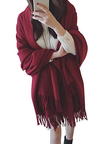 AOFITEE Women's Large Warm Cashmere Blanket Scarf Solid Color Shawl With Tassel