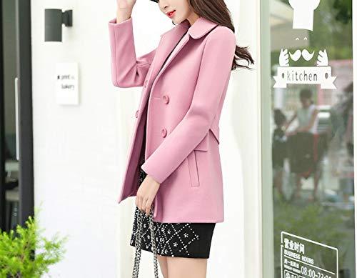 cotone a e lana classico risvolto invernale di giacca vento da di autunno donna caldo inverno da donna Cappotto giacca rosa wT0RA