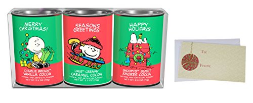 Oval Sweet - Hot Chocolate Gift Set, Peanuts Christmas Holiday Cocoa Mix, Vanilla Cocoa, Creamy Caramel Cocoa, Sweet Smores Cocoa, 3 – 2.5 Oz. Oval Tins.