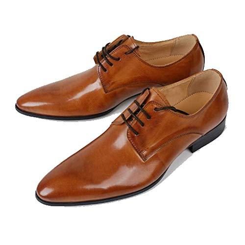 Pelle Sposa Stringate Brown Spesso da Tacco Scarpe Stile in Uomo Scarpe E Comfort Traspirante Business Scarpe Basso Appuntito da RTtnqw7gq0