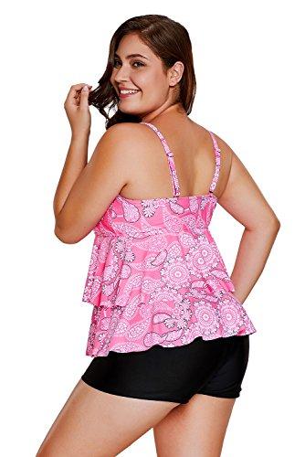 New rosa Paisley stampa increspato Layered 2PCS Tankini set bikini bikini Swimwear estivo, taglia UK 14EU 42