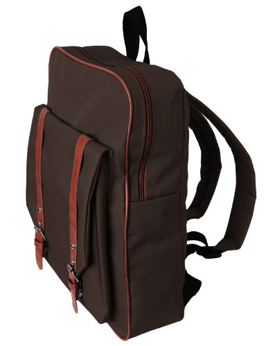 - H2H Mens Canvas Square Backpack BROWN Asia NONE (KMAB01)