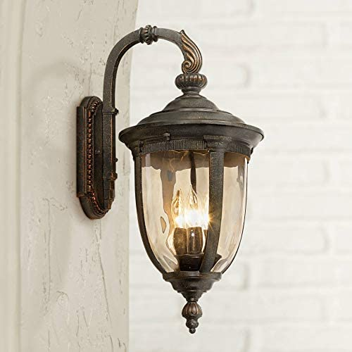 Bellagio Vintage Outdoor Wall Light Fixture Bronze Metal 20 1/2″ Champagne Hammered Gla