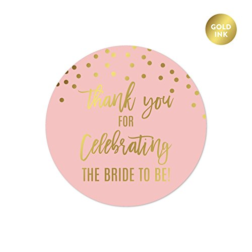 Andaz Press Blush Pink and Metallic Gold Confetti Polka Dots Bachelorette Party Bridal Shower Collection, Round Circle Label Stickers, Thank You for Celebrating the Bride to Be!, (Label Press)