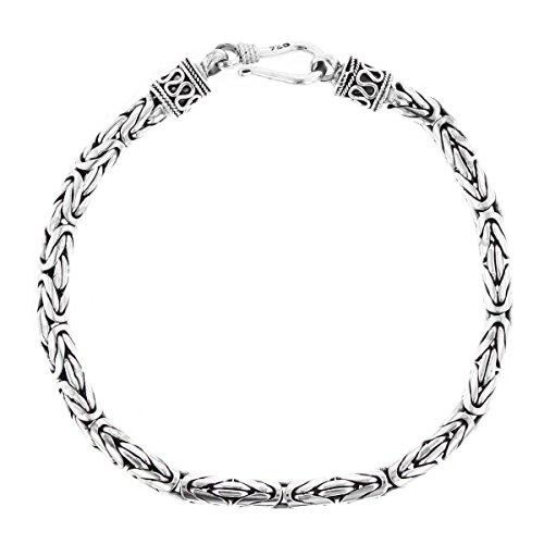 (9 4mm Round Byzantine Handmade Bali Oxidized 925 Sterling Silver Chain Bracelet)