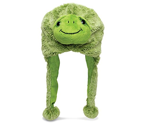 Dollibu Green Sea Turtle Plush Hat, Wearable Soft & Cute Critter Stuffed Animal Fluffy Beanie Earflap Novelty Costume Fleece Lining Cap Headwear Ocean Sea Life Animals Themed Clothing Head Accessory