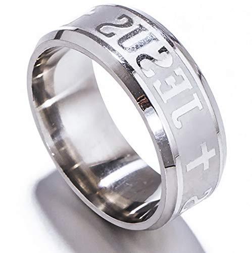 - Tomikko 8mm Jesus Christian Cross Prayer Band Ring Stainless Steel Titanium Men Women | Model RNG - 13129 | 12