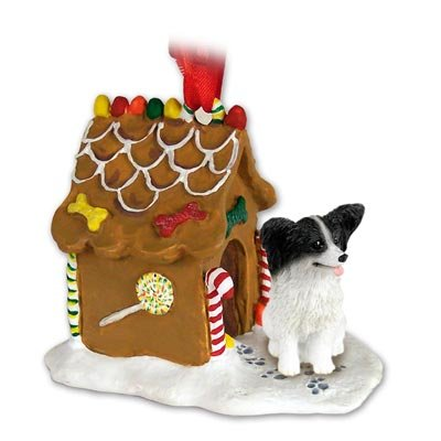- Eyedeal Figurines Papillon Dog Black and White New Resin Gingerbread House Christmas Ornament 47B