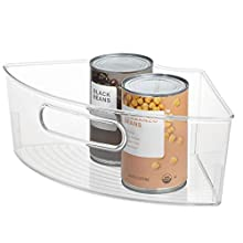 """iDesign Plastic Lazy Susan Cabinet Storage Bin, BPA-Free 1/4 Wedge Container for Kitchen, Pantry, Counter, 12.56"""" x 7.33"""" x 4.05"""", Clear"""
