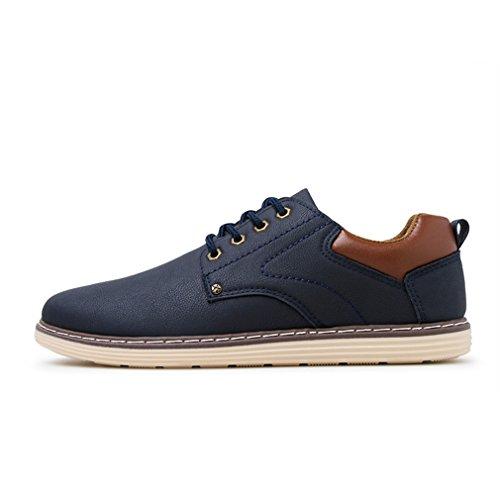 [QIFENGDIANZI]靴 メンズ モカシン ウォーキングシューズ カジュアルシューズ レースアップ  クッション コンフォート 通気性 滑り止め 通勤 黒 ブラウン ブルー