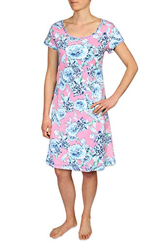 Miss Elaine Women's Interlock Knit Short Coverup Robe - Short Sleeves & Two Inset Side Pockets Pink