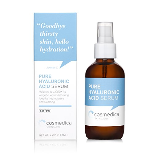 Cosmedica Hyaluronic Acid Serum for Skin - 4 Fl. Oz Hydrating Facial Moisturizer with Anti-Aging Skin Care Properties. Beauty and Skin Care