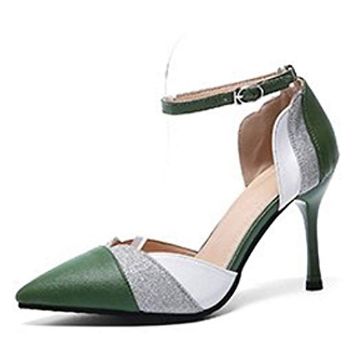 Spring Stiletto Heel Black ZHZNVX Toe Polyurethane Green Strap Ankle amp; Pointed Green PU Buckle Shoes Summer Women's Heels wvPqvIA