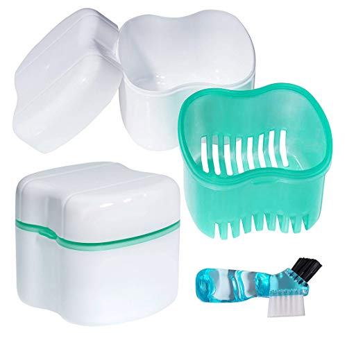 Scotte Denture Case,Dentures Box,Denture Brush Retainer Case,Denture Cups Bath,Dentures Container with Basket Denture Holder for Travel,Retainer Cleaning Case (Green) (Denture Bath Premium)