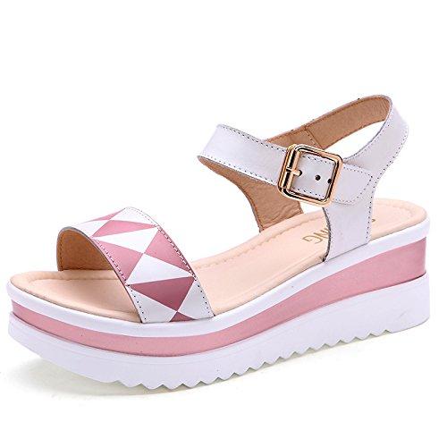 Xing Lin Sandalias De Mujer Nueva Sandalia De Verano Las Cuñas Con Plataforma Impermeable Zapatos De Cuero Casual Dama Zapato Abierto Inferior Grueso Sandalias Planas Pink