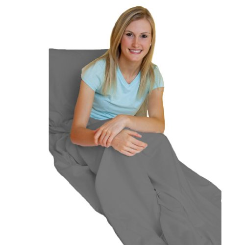 Gray Adult Travel Sheet/Sleep Sack - Durable and Super Soft, Making the Perfect Lightweight and Easy to Pack Travel - Sack Space