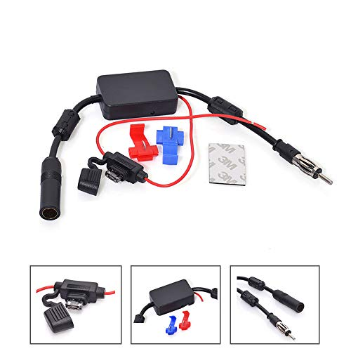 Bingfu Universal Car Stereo FM AM Radio Antenna Signal Booster Amplifier Amp,12V Power Supply Motorola DIN Plug Connector Adapter for Vehicle Truck SUV Car Audio Radio Stereo Media Head Unit Receiver