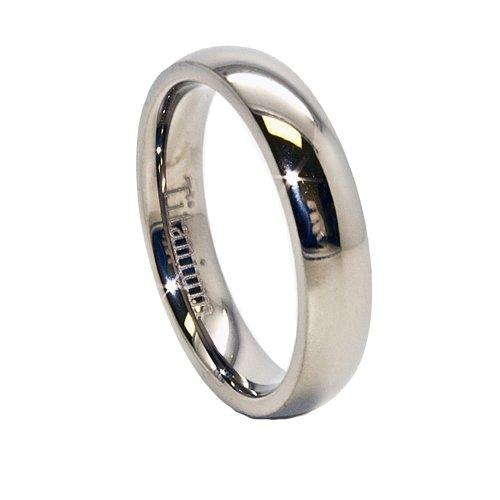 4mm Classic Domed Titanium Wedding Band Size 9.5 (9 1/2)