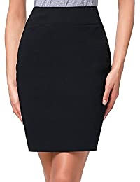 Women's Stretchy Cotton Pencil Skirt Slim Fit Business Skirt