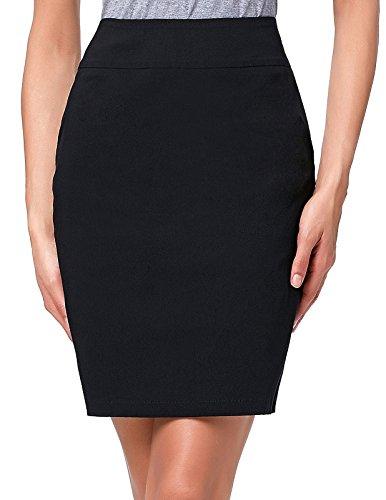 Kate Kasin Above Knee Pencil Skirt for Occident Women,Kk276-black,Medium