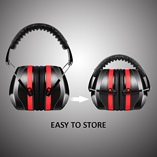 Construction or Yard Work Red 35dB NRR Meerveil Earmuffs Hearing Protector with Head Band Compact Ear Protector with Ear Plugs for Noise Protection Ear Defenders for Shooting