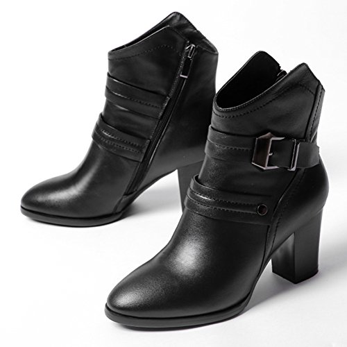 Chunky heels for fall/winter boots/Belt buckle side zipper high heel boots with round head/ casual boots-A Foot length=23.3CM(9.2Inch) (Round Covered Buckle Belt)