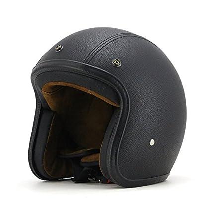 M Woljay Cuir Moto Casque de casque moto jet scooter Touring Casque Noir