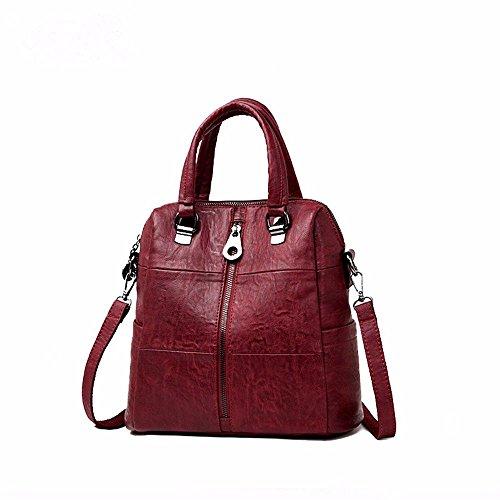 Hombro Vintage Casual para Mujer Pequeño Clutch Wristlet Hombro Cross-Body Bags con Muchos Bolsillos Soft PU Leather Shoulder Large Capacity Violet gules