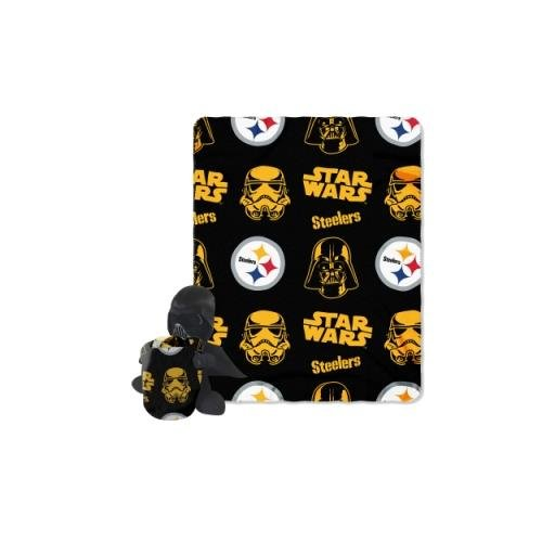 (The Northwest Company Officially Licensed NFL Pittsburgh Steelers Co Star Wars' Vader Hugger with Fleece Throw Blanket Set)