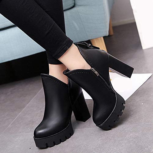 Black US7.5   EU38   UK5.5   CN38 Black US7.5   EU38   UK5.5   CN38 Women's shoes PU Fall & Winter Combat Boots Boots Chunky Heel Round Toe Booties Ankle Boots Buckle Black