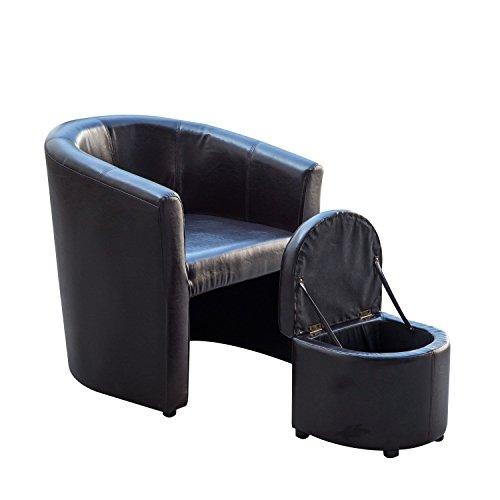 Homcom Pu Leather Tub Barrel Club Arm Seat Chair W Storage