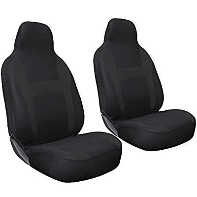 Oxgord 2pc Integrated Flat Cloth Bucket Seat Covers, Universal Fit for CarTruckVanSUV, Airbag , Black