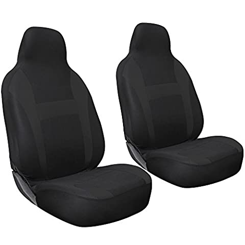 OxGord 2pc Integrated Flat Cloth Bucket Seat Covers - Universal Fit for Car, Truck, Van, SUV - (2012 Honda Fit Seat Covers)