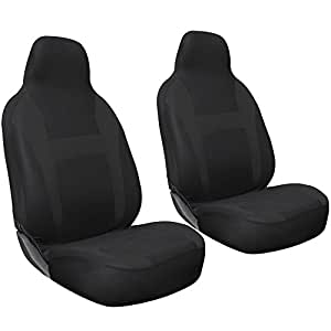 OxGord 2pc Integrated Flat Cloth Bucket Seat Covers - Universal Fit for Car, Truck, Van, SUV - Black