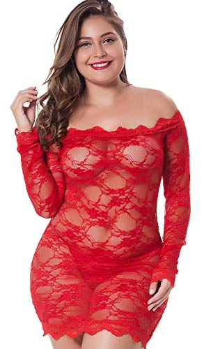 LINGERLOVE Womens Regular and Plus Size Chemise Floral Lace Off Shoulder See Through Bodysuit Lingerie (Red, 1XL-2XL) (Red Sexy Lingerie Plus Size)