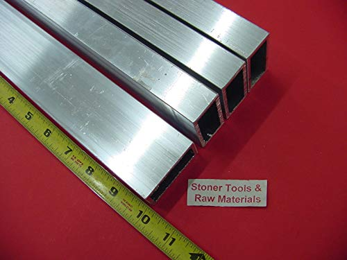 4 Pieces 1''x 2''x 1/8'' Wall Aluminum Rectangle Tube 6063 T52 x 10'' Long .125'' W