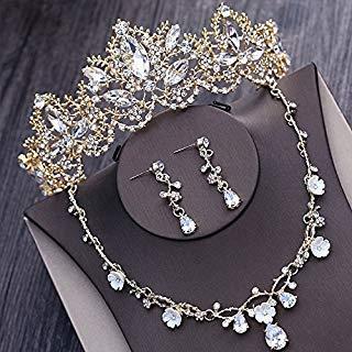 (Quantity 1x bride Headdress jewelry Wedding necklace earrings set Bridal crystal pearl gold Crown Tiara Party Wedding Headband Women Bridal Princess Birthday Girl Gift _three-piece_ Wedding)