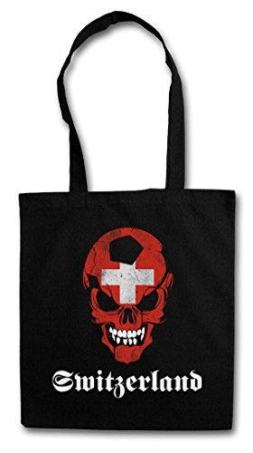 BLACK CLASSIC SUISSE SWITZERLAND FÚTBOL FOOTBALL SOCCER SKULL FLAG Hipster Shopping Cotton Bag Cestas Bolsos Bolsas de la compra reutilizables �?Bandera cráneo Suiza Fan Hooligan Schweiz