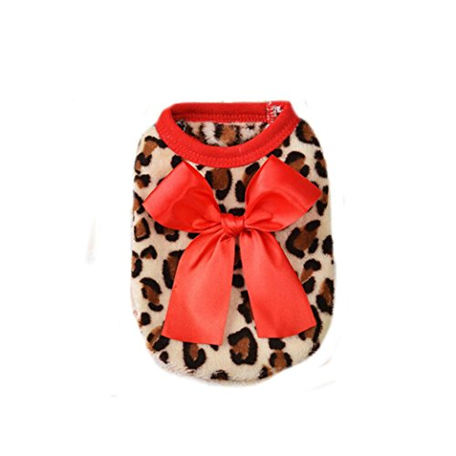 [Outtop Dog Clothes, Flannel Leopard Costume Hoodie Coat Shirt Apparel For Girl Pet (S, Red)] (Army Dog Costumes)