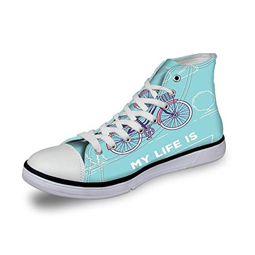 - Canvas Sneakers High Top Lace ups Casual Walking Shoes,Retro Pastel Bike with Basket and Text My Life is a Beautiful Ride - Womens 6