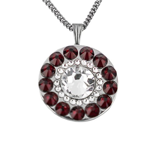 No Crystal Ruby - Girls Golf Bling Swarovski Crystal Golf Ball Markers with Magnetic Necklace - Premium Golf Gifts for Women by (Spanish Bay Ruby Red)